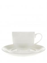 Чашка с блюдцем, белый костяной фарфор, 185 мл