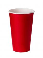 Стакан картонный одинарный под горячие напитки Паперскоп красный, 400 мл, 50 шт./упак.